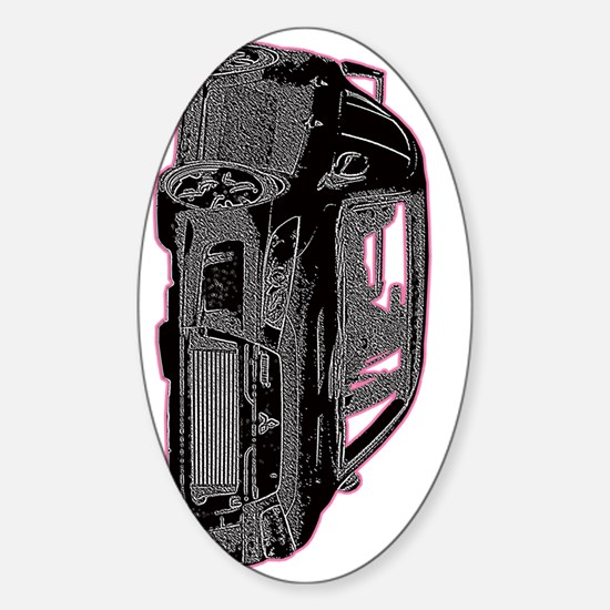 Evo - X - Black Design - Pink Outli Sticker (Oval)