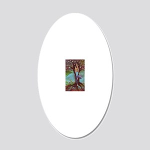 Yogini in Tree Pose 20x12 Oval Wall Decal