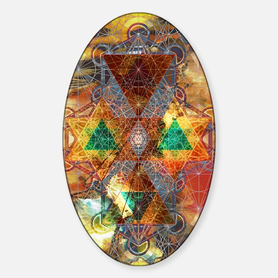 Metatron-Colorscape-Mandala-Poster Sticker (Oval)