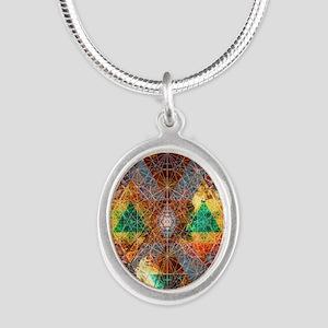 Metatron-Colorscape-Mandala-P Silver Oval Necklace