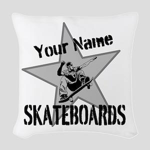 Custom Skateboards Woven Throw Pillow