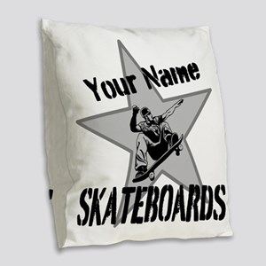 Custom Skateboards Burlap Throw Pillow