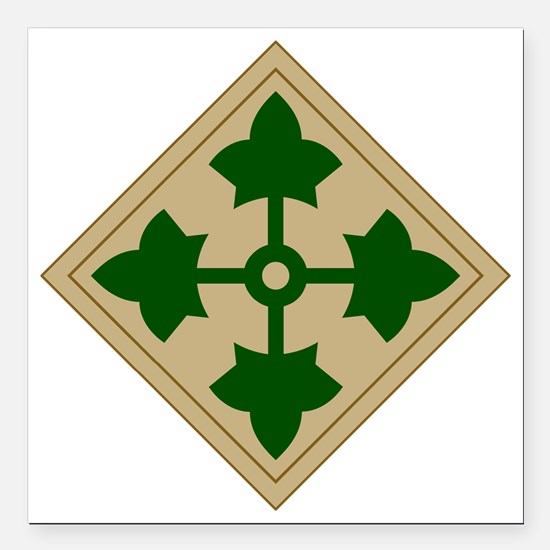 """4th Infantry Division Square Car Magnet 3"""" x 3"""""""