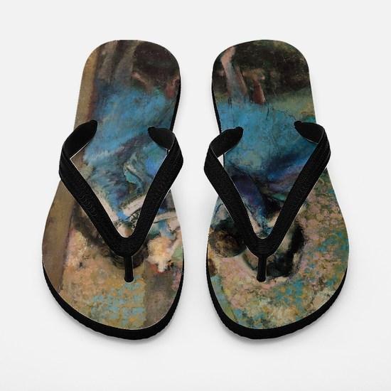 Dancers in blue by Edgar Degas Flip Flops