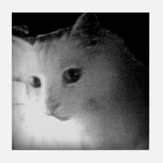white kitty cat Tile Coaster