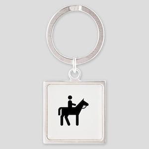 Horses Broke White Square Keychain