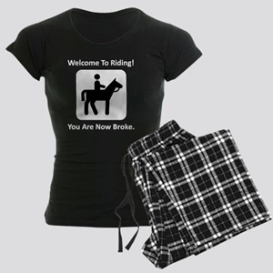 Horses Broke White Women's Dark Pajamas
