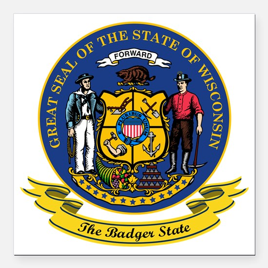 """Wisconsin Seal Square Car Magnet 3"""" x 3"""""""