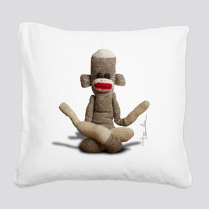 Zen Sock Monkey Square Canvas Pillow