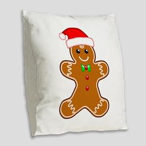 Gingerbread Man with Santa Hat Burlap Throw Pillow