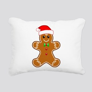 Gingerbread Man with Santa Hat Rectangular Canvas