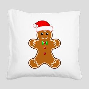 Gingerbread Man with Santa Hat Square Canvas Pillo