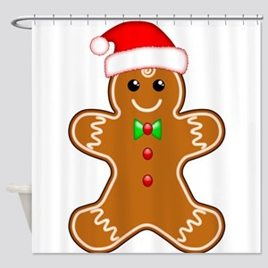 Gingerbread Man With Santa Hat Shower Curtain