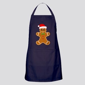 Gingerbread Man with Santa Hat Apron (dark)