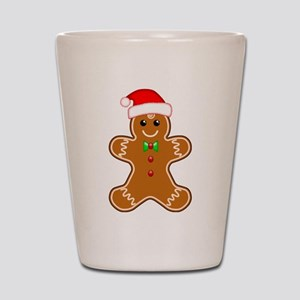 Gingerbread Man with Santa Hat Shot Glass
