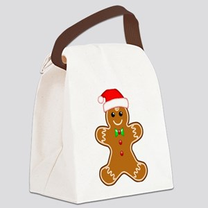 Gingerbread Man with Santa Hat Canvas Lunch Bag