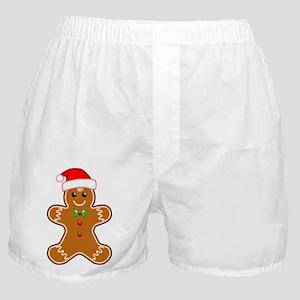 Gingerbread Man with Santa Hat Boxer Shorts
