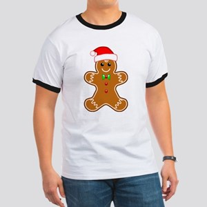 Gingerbread Man with Santa Hat T-Shirt