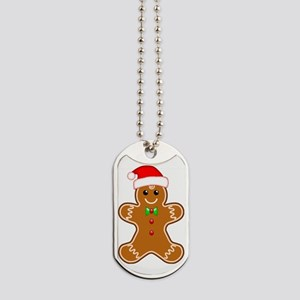 Gingerbread Man with Santa Hat Dog Tags