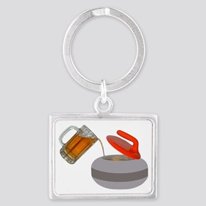Fueled by beer cartoon rock  Landscape Keychain