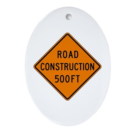 Road Construction 500 FT - USA Oval Ornament