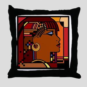 Egyptian Queen dk brown001 Throw Pillow