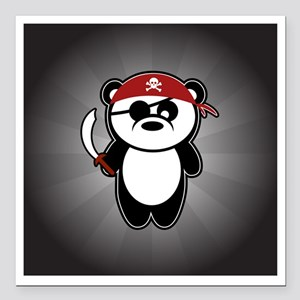 "pirate-panda_striped-01 Square Car Magnet 3"" x 3"""