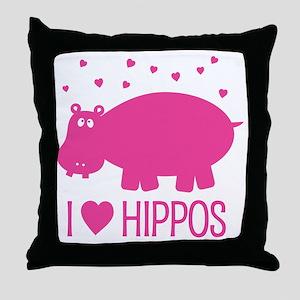 PinkHippo Throw Pillow