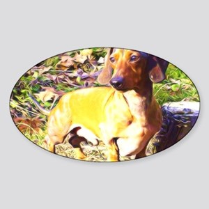 smooth coated mini doxie Sticker (Oval)