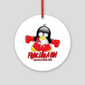 AIDS-Fighting-Penguin Round Ornament