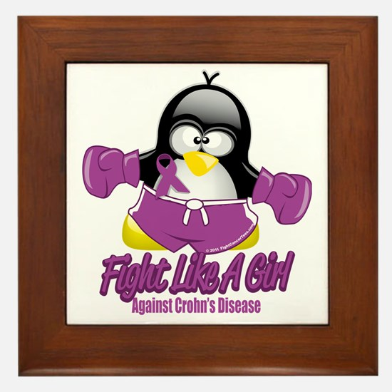 Crohns-Disease-Fighting-Penguin Framed Tile