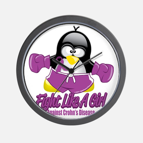 Crohns-Disease-Fighting-Penguin Wall Clock