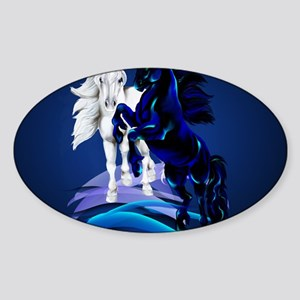 Two Unicorn Stallions Calender Sticker (Oval)