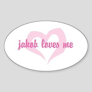 """""""jakob loves me"""" Oval Sticker"""