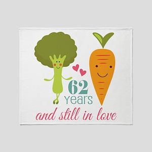 62 Year Anniversary Veggie Couple Throw Blanket