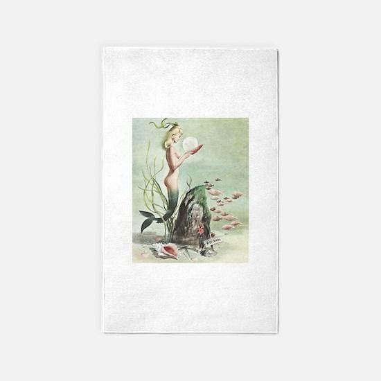 Retro Pin Up 1950s Mermaid with School of Fish 3'x