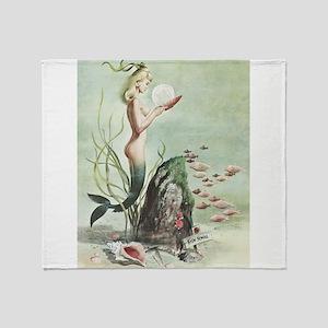 Retro Pin Up 1950s Mermaid with School of Fish Thr