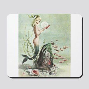 Retro Pin Up 1950s Mermaid with School of Fish Mou