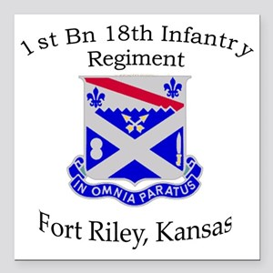 "1st Bn 18th IN Square Car Magnet 3"" x 3"""