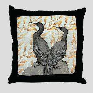 cormorant2SQUARE Throw Pillow
