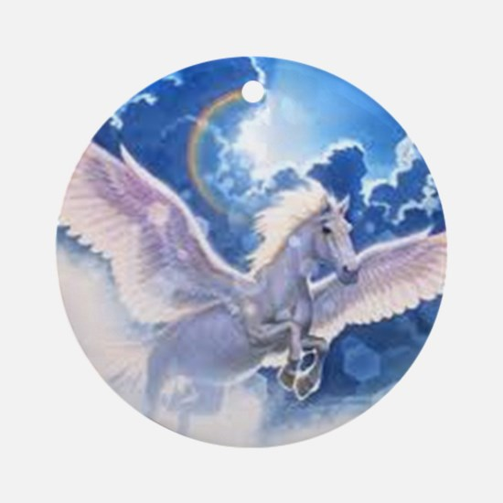 pegasus flying high Round Ornament