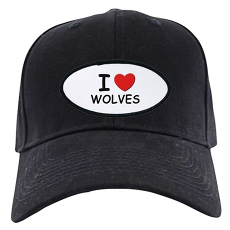 I love wolves Black Cap