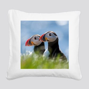 Puffin Pair 7.355x9.45 Square Canvas Pillow