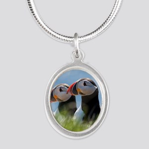 Puffin Pair 7.355x9.45 Silver Oval Necklace