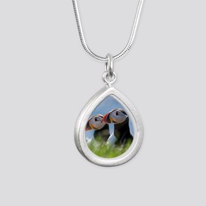 Puffin Pair 7.355x9.45 Silver Teardrop Necklace