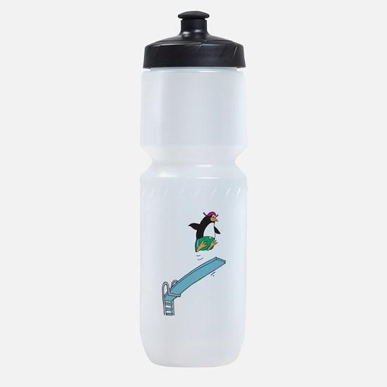 funny diving penguin.png Sports Bottle