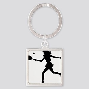 Tennis Lady Square Keychain