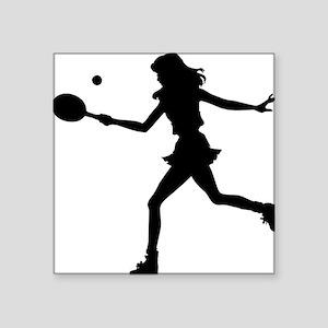 "Tennis Lady Square Sticker 3"" x 3"""