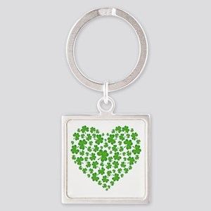 My Irish Heart SHAMROCKS copy Square Keychain