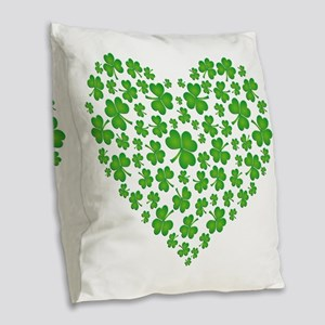 My Irish Heart SHAMROCKS copy Burlap Throw Pillow